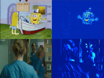 Sample frames from Sponge Bob (Nickelodeon) and Casualty (BBC). The frames on the right show the visibility of different elements within the frame to young infants. In the top image the speaking character is clearly visible. In the bottom image it is not. This suggests that cartoons are easier for a young child's brain to process than adult TV.